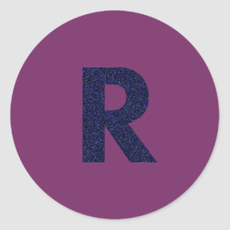 Customizable Capital R Sticker with Faux Glitter