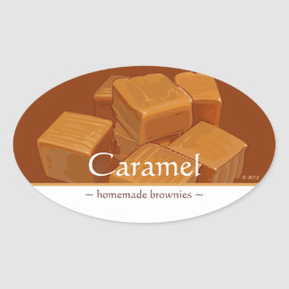 Customizable Caramel Candies Oval Stickers