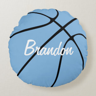 Customizable Carolina Blue Basketball Round Throw Round Pillow