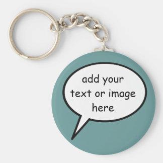 customizable cartoon speech bubble keychain