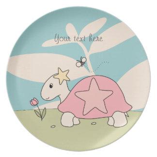 Customizable Cartoon Star Tortoise Plate