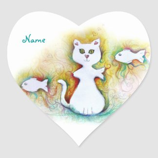 Customizable: Cat fish Heart Sticker