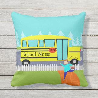 Customizable Catching School Bus Outdoor Pillow