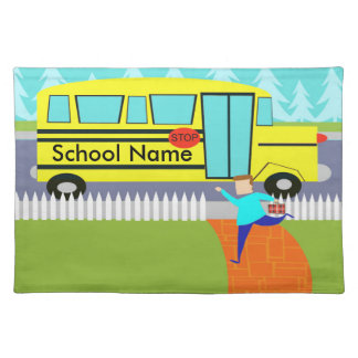 Customizable Catching School Bus Throw Placemat