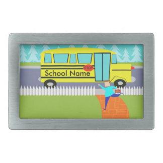Customizable Catching the School Bus Belt Buckle