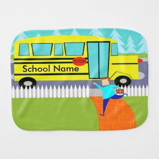 Customizable Catching the School Bus Burp Cloth