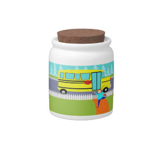 Customizable Catching the School Bus Candy Jar