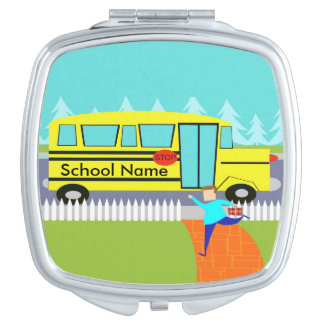 Customizable Catching the School Bus Compact Mirror For Makeup