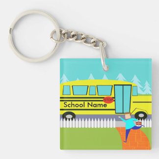 Customizable Catching the School Bus Keychain Double-Sided Square Acrylic Keychain