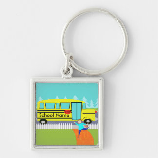 Customizable Catching the School Bus Keychain Silver-Colored Square Keychain