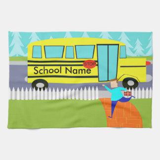 Customizable Catching the School Bus Kitchen Towel