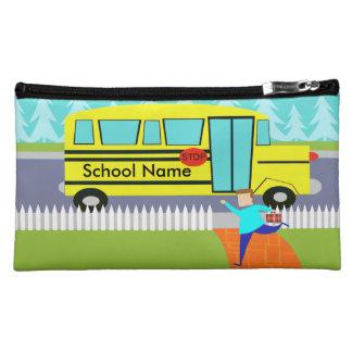 Customizable Catching the School Bus Makeup Bag