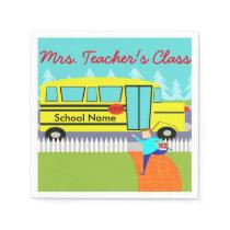 Customizable Catching the School Bus Napkins