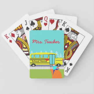 Customizable Catching the School Bus Playing Cards