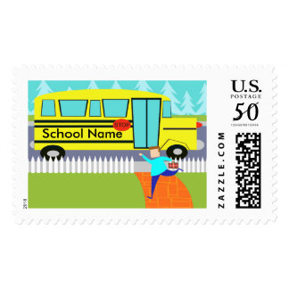 Customizable Catching the School Bus Postage Stamp