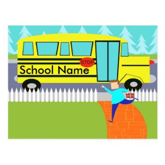 Customizable Catching the School Bus Postcard