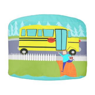 Customizable Catching the School Bus Round Pouff Pouf