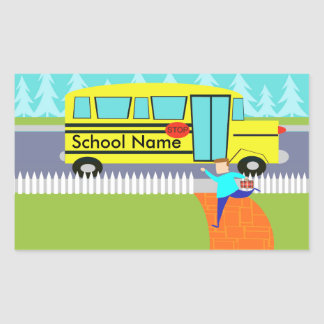 Customizable Catching the School Bus Stickers