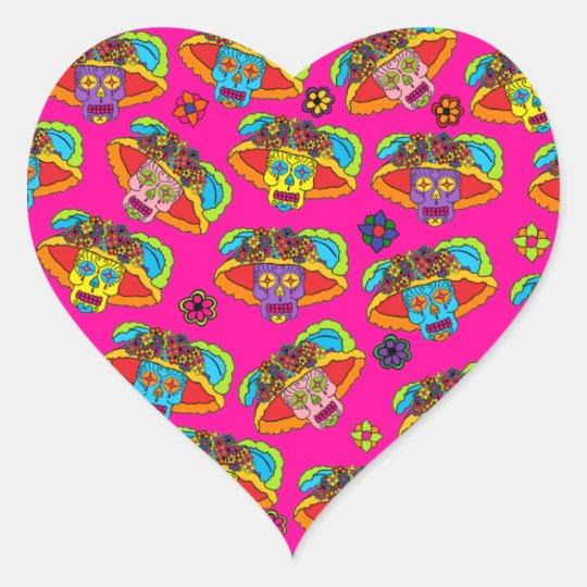 Customizable Catrina Sugar Skulls Heart Sticker