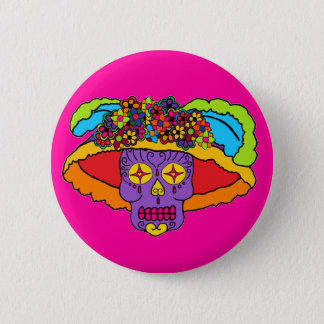 Customizable Catrina Sugar Skulls Pinback Button