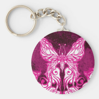 Customizable Celtic/Tribal Pink Butterfly Keychain