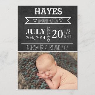 Customizable Chalkboard Birth Announcement