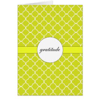Customizable Chartreuse Quatrefoil Pattern Card