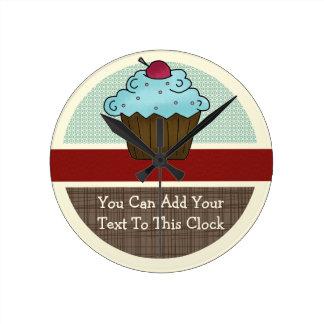 Customizable Cherry Cupcake v2 Round Clock