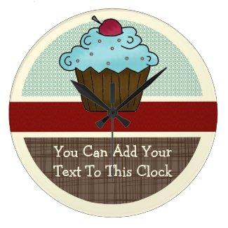Customizable Cherry Cupcake v2 Round Wallclocks