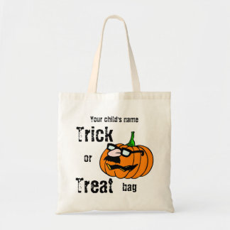 Customizable Child's Trick or Treat Funny Pumpkin Tote Bag