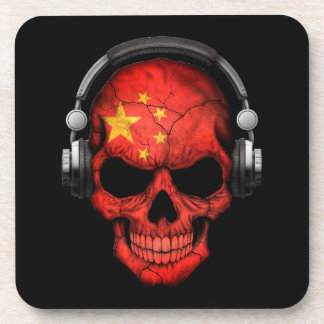 Customizable Chinese Dj Skull with Headphones Coasters