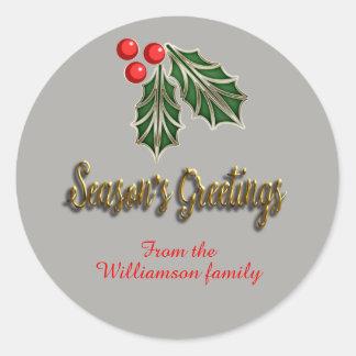 Customizable Chirstmas Sticker season's greetings