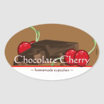 Customizable Chocolate Cherry Oval Stickers