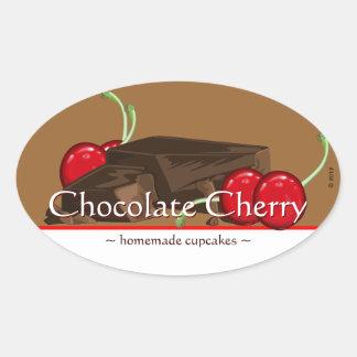 Customizable Chocolate Cherry Oval Stickers