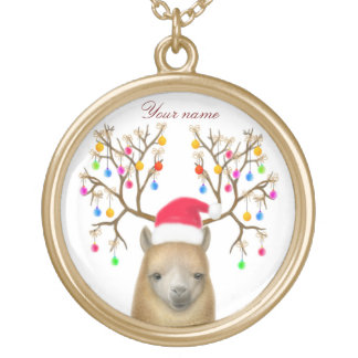 Customizable Christmas Alpaca Necklace