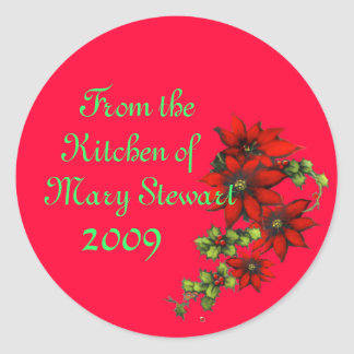 Customizable Christmas Canning Labels Classic Round Sticker