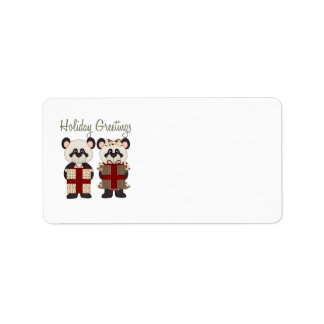 Customizable Christmas Panda Gifts and Tees Personalized Address Labels