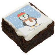 Customizable Christmas Penguin Square Brownie