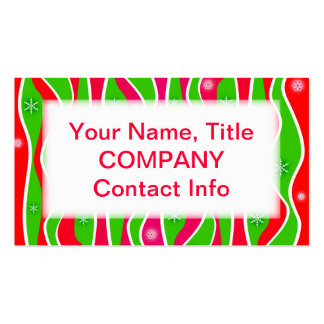Customizable CHRISTMAS STRIPES BUSINESS CARDS