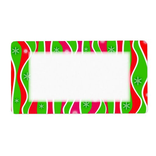 Customizable CHRISTMAS STRIPES HOLIDAY LABELS
