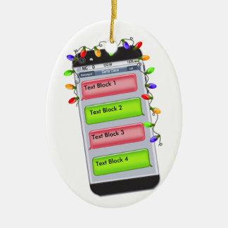 CUSTOMIZABLE Christmas Text Message & Xmas Lights Double-Sided Oval Ceramic Christmas Ornament