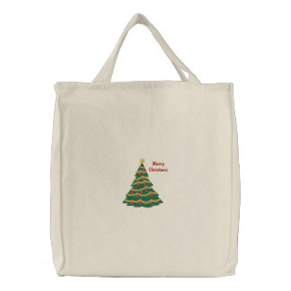 Customizable Christmas Tree Emb. Tote Bag