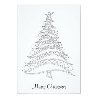 Customizable Christmas Tree Holiday Card to Color