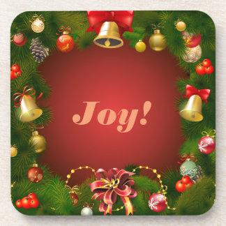 Customizable Christmas Wreath Beverage Coaster
