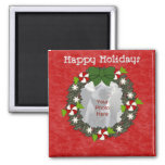 Customizable Christmas Wreath  Photo Magnets