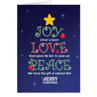 Customizable ChristmasCard  Joy Love and Peace Greeting Cards