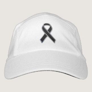 Customizable Chrome Like Black Ribbon Awareness Headsweats Hat