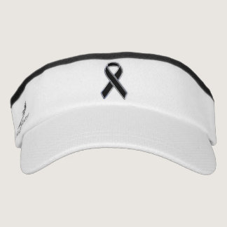 Customizable Chrome Like Black Ribbon Awareness Visor
