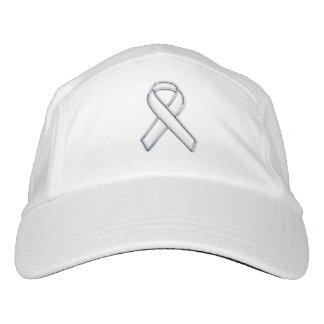 Customizable Chrome Like White Ribbon Awareness Headsweats Hat