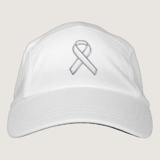Customizable Chrome Like White Ribbon Awareness Headsweats Hat